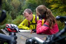 Deciding on a route in Hamsterley Forest © NPAP/Louise Taylor