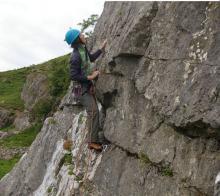 Paula climbing Croglin Vampire at Cumrew crag © Ron Kenyon