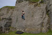 Michael on Samoon at Windmore crag © Ron Kenyon